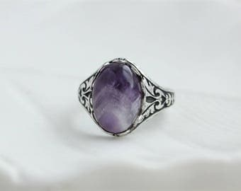 Amethyst Ring. Gemstone Ring. Antique Silver or Antique Brass
