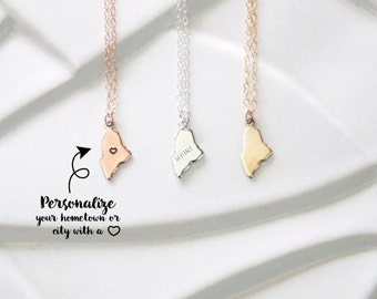 Stamped Heart Maine State Necklace, Tiny State Jewelry Design Maine Charm, Rose Gold Maine Bracelet, State Maine Pendant Silver Charm