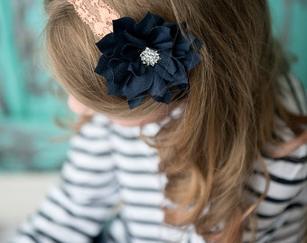 Navy flower headband, peach Elastic Headband, baby headband, baby shower, girl hair accessories, photography prop, wedding flower girl