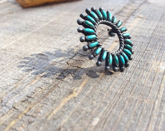Vintage Zuni needlepoint circle brooch, silver turquoise pin, Native American Indian jewelry, Old Pawn, turquoise brooch, vintage pin