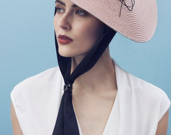The Orcel Races Hat, Straw Saucer with Bow Summer Millinery.