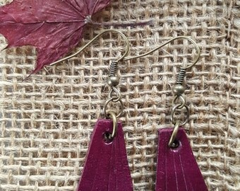 Lightweight Plum Leather Earring Set ~ Bronze Shepherd Hooks ~ Hand Dyed Earring Set Leather Jewelry w/ Burlap Storage Bag-Perfect Gift
