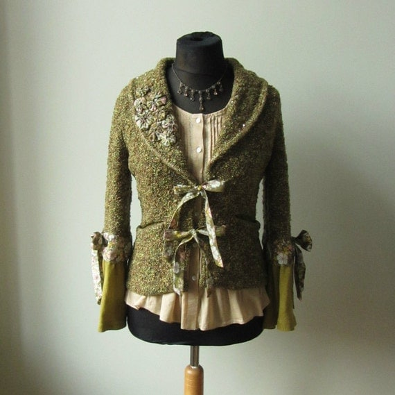 Marled Green Cardigan WITH Necklace, Upcycled Sweaters, Bell Sleeve Sweater, Shabby Chic Cardigan, Refashioned Clothing, Sweater with Bows