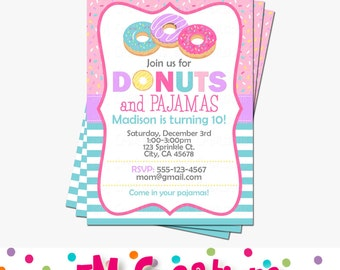 Donut Party Invitation - Doughnut Birthday Invitations - Donut Pajamas Invite - Digital Printable Invitation - Girl Birthday Party Aqua Pink