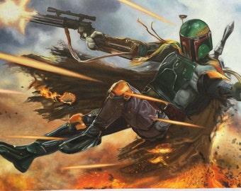 Star Wars Boba Fett Darth Vader oil painting on canvas, pop art, 20x40 inch, 100% money back guarantee