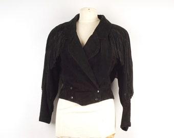 cropped black Leather Jacket 80s Vintage short fringed genuine real suede Rocker Jacket small