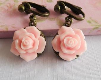Pink flower clip on earrings, flower girl earrings, little girl jewelry, pink rose earrings, rustic wedding jewelry, granddaughter gift