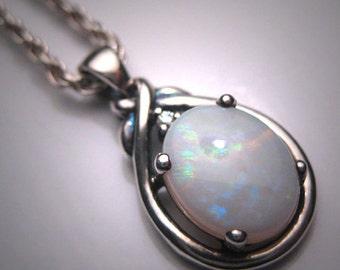 Vintage Australian Opal Diamond Pendant Necklace Retro Modernist Silver