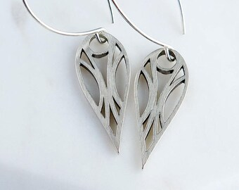 Elf Deco Cutout Design Sterling Silver Drop Earrings, Abstract design, tear drop shape, pear shape, Elvish inspired, Art Deco Inspired