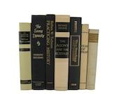 Ivory White Black Vintage Book Decor , Decorative Books ,  Photo Prop , Bookshelf Decor , Home Decor , Old Book Decor ,