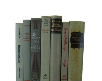 Muted Green Gray Books , Vintage Books, Decorative Books,  Wedding Decor,  Photo Prop, Instant Library,  Farmhouse Chic,Shabby Chic Wedding