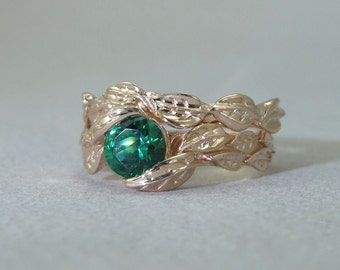 Wedding Set, Leaf Ring Set, Leaf Ring Wedding Set, Leaf  Engagement Ring, Leaf Wedding Ring Set, Engagement Leaf Ring Set, Gold Leaf Ring