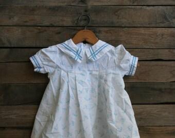 Vintage Children's Blue & White Sailboat Dress by Little Evie Size 24 Months - Sailor Dress - Nautical Dress