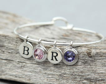 Birthstone Gift, Family Bracelet Initials, New Mother Jewelry, Mothers Day Birthstone Bracelet, Mothers Day Gift