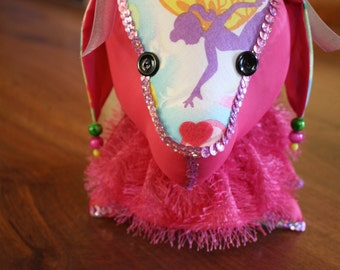 Decorated Stuffed Dog in Pink Satin and Fairy Fabric with Pink Sequin Trim