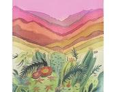Pink Sky South California Landscape Cactus Nest Desert Landscape Original Painting on Silk