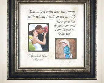Wedding Gift for In Laws InLaws, Parents of the Groom, Mother of the Groom, You Raised With Love This Man, Personalized Wedding, 16 X 16