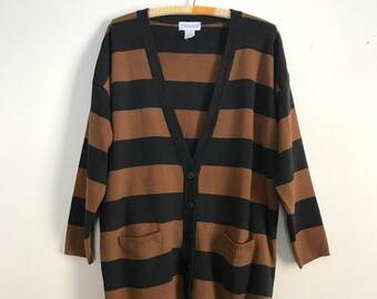 1990s brown and black striped oversized sweater M