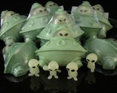 Flying Saucer Soap with Glow-in-the-Dark Alien Toy Assorted Scents- Handcrafted Melt and Pour Soap Creation