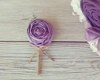 Men wedding boutonnieres, grooms buttonhole, lavender boutonniere, lapel flower, wedding boutonniere, teal boutonniere,