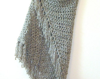 Gray Beige Fringe Shawl - Large Triangle Crochet Wrap - Gypsy Boho Shawl - Handmade Bulky Crochet Shawl