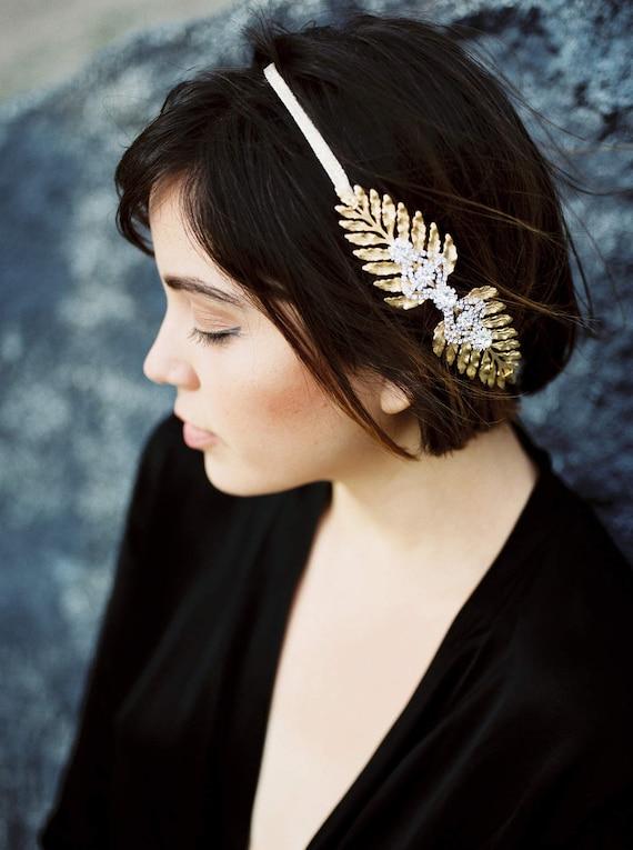 Leaf Tiara, Gold Tiara, Gold Leaf Headpiece, Leaf Halo, Bridal Tiara, Gold Leaf Headband, Woodland, Boho, Laurel Leaf, Greek God APHRODITE