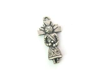 Kachina Dancer Charm. Native American Silver Pendant. Southwestern Pueblo Spirit Being. Sterling Silver, 3D. Vintage 1970s Jewelry