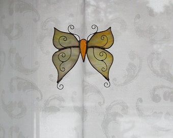 Creamy White Yellow Butterfly Stained Glass, Glass Butterfly Wings, Suncatcher, Decorative Butterfly, Home Decor, Handmade Gift Idea