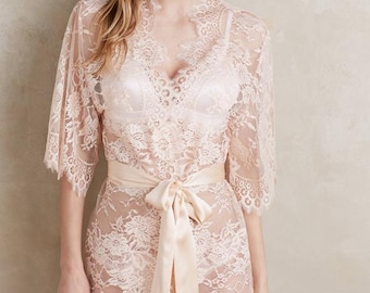 Ready to ship - Swan Queen Bridal Scalloped French Lace Getting Ready Kimono Robe blush pink