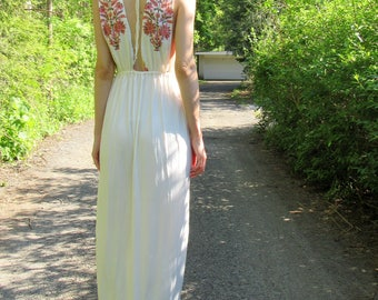 SUMMER SALE! wildflower 2 - ivory bamboo with floral indian hand block print bohemian ethnic festival hippie wedding boho chic maxi dress