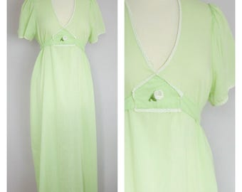 Vintage 1970's Lime Green Flutter Sleeve Long Empire Waist Night Gown M/L