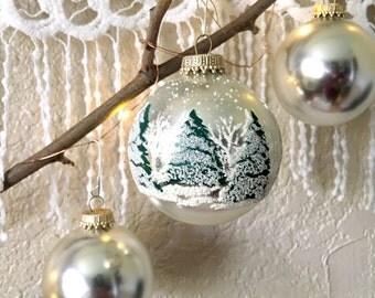 Vintage Krebs Snowy Ice Blue Green Silver Christmas Glass Ball Ornaments - Set of 12