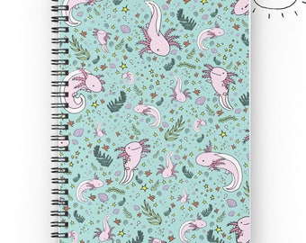 Axolotl Notebook, River Notebook, Axolotl Journal, Axolotl Gift, Graph Notebook, Cute Ruled Notebook, Pretty Animal Notebook, Cute Journal