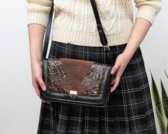 Black and Brown Crocodile Effect Handbag