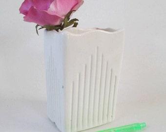 Art Deco Vase, Vintage Ungemach Pottery USA White Ridged Design Planter