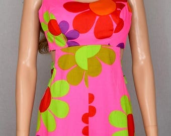 Vintage 1960's Alice Polynesian Fashions Go - Go FLOWER POWER Neon PsYcHeDeLiC Cut Out HiPPiE MoD Hawaiian Jumpsuit Romper Beach Wear Size S