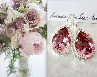 Antique Pink crystal earrings, Swarovski Crystal earrings,Halo crystal earrings,Brides earrings,Bridesmaids earrings,Wedding earrings,SOPHIA