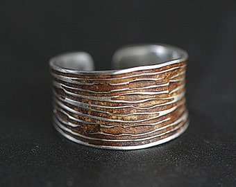 Sterling Tree Bark ring. Wide band adjustable ring with wooden inlay. Nature ring for her. Modern woodland.
