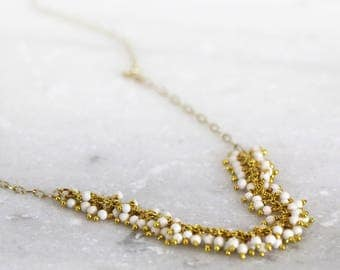 White Turquoise Necklace - Gemstone Cluster Necklace - Howlite Necklace - White and Gold Jewelry - Long Layering Necklace