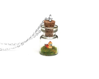 Pepe Necklace, Terrarium Necklace, World of Warcraft Keychain - Gamer Girl Gift - 1cm jar, 16 inch chain