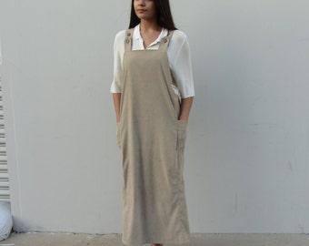 Beige pinafore maxi dress