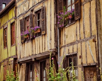 Travel Photography, France, Normandy, French Country, Houses, Rural, Travel Print, Rustic Home Decor, Large Wall Art, Country Home, Windows