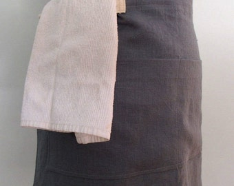 Slate Gray Half Apron with Pockets and Towel Loop, Linen Server Apron, Bistro Apron, Waitress Apron, Restaurant Apron, Waist Apron, Monument