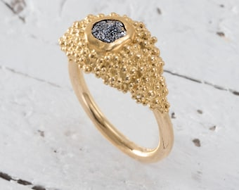 Unique engagement ring, Raw Diamond Ring, Rough Diamond engagement ring, Uncut Diamond Ring, Fine Jewelry, San Francisco memories 5.5 Size