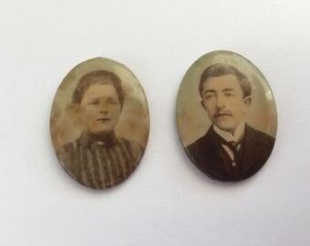 2 Antique Mini Celluloid Portrait Photos, Victorian Married Couple Portraits