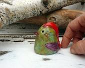 Red Head Bird, Small Pottery Bird Sculpture Figurine, Handmade Ceramic Animal Art, Whimsical Bird Sculpture, Ready to Ship.