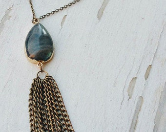 morla - golden labradorite amulet necklace
