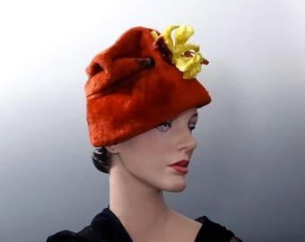 "1940's Hat Asymmetrical Crown Rust Color Faux Fur with Yellow Chenille Trim ""Carson Pirie Scott"""
