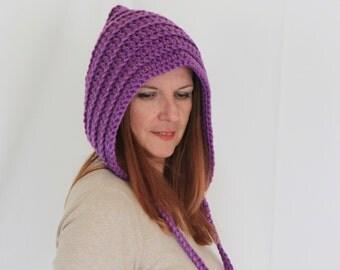 Purple pixie hat, pixie hood, chunky hood, lilac bonnet, gnome hat, crochet winter hat, winter fashion, Leto Hood, ready to ship