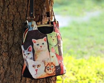 Cat shoulder bag, Metal frame bag with leather straps
